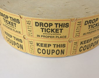 Yellow Tickets / 100 Vintage Double Two-Part Vintage Carnival Raffle Tickets/Coupons Mustard Yellow