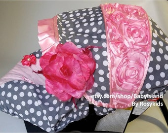 New!! Baby Car Seat Cover Canopy, Infant Car Seat Cover Canopy, 3D rosette fit most Infant car seat, 20% off