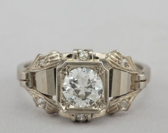 RESERVED TO F.R. Highly distinctive Art Deco .80 Ct G VVS engagement ring of the finest quality