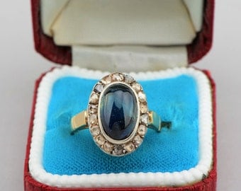 Gorgeous Victorian 4.70 Ct sapphire and rose cut diamond rare ring