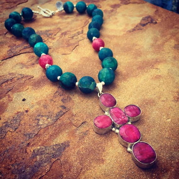 Agate with African Ruby Cross Statement Necklace and Earring Set