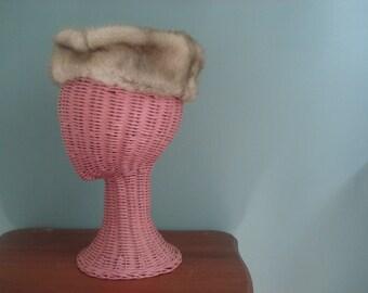 Ladies vintage pillbox hat - fur