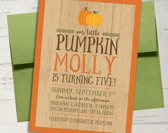 Our Little Pumpkin Fall Birthday Invitation || Wood, Rustic, Burnt Orange, Pumpkins, Fall
