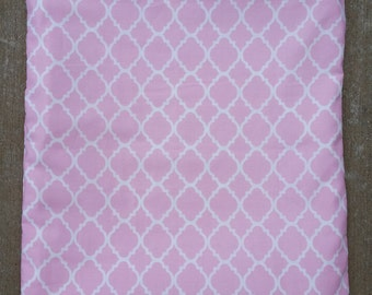 Sassy Pink. Quatrefoil. Wet/Dry Bag or Swimsuit Bag and Eco-Friendly
