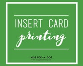 INSERT CARD PRINTING services book request card diaper raffle directions recipe registry save the date