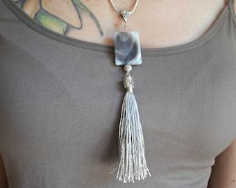 Tassel, Necklace, Botswana Agate, Pendant, Handmade Jewelry, Gray