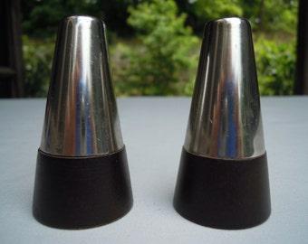 Mid Century Modern Metal and Wood Salt and Pepper Shakers Vintage