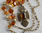 Antique French Sewing Kit British Pip Pearl Agate Brass Trade Bead Wood Rose Bead Charm Necklace