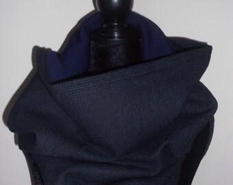 Charcol & navy Harris tweed reversible Nile blue snood