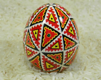 Red and Black 48 Triangles Ukranian Egg