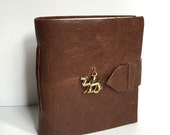 Brown Leather Mini Journal with Camel Charm