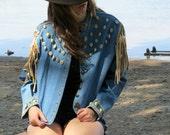 Vintage Double D Ranch Wear Jacket Shells  leather fringe denim DD Ranch Double D Ranchwear Medium