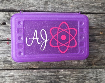Personalized Pencil Box, Science Atom, Science Party, Science Teacher Gift, Personalized Crayon Box, Kids Pencil Case, Plastic School Box