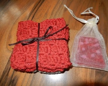 set of 2 lovely crocheted cotton wash cloths, face cloths red & grey with strawberry scented homemade soap