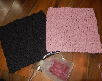 set of 2 lovely crocheted cotton wash cloths, face cloths pink & dark grey with strawberry scented homemade soap