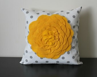Decorative Throw Pillow, Yellow Flower Pillow Cover, White Polka Dot Pillow Cover, Accent Pillow, Floral Pillow Cover, Nursery Decor