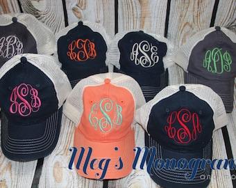 Distressed Monogram Trucker Hat monogram hat, monogram baseball cap, Trucker Hat Lots of colors