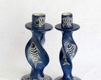 Unique OOAK Cobalt Blue Twisted Fish Candle Holders Pair