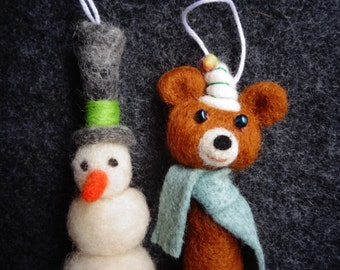 Needle Felted Critter Pair - Set of 2 of Your Choice- Hair Clips, Pin, Hanging Ornament, or Other-Made to Order