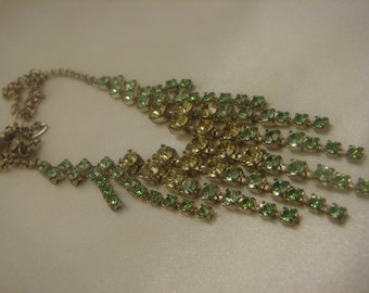Vintage Pale Green & Yellow Rhinestone Necklace, perfect for fall!!! 1318