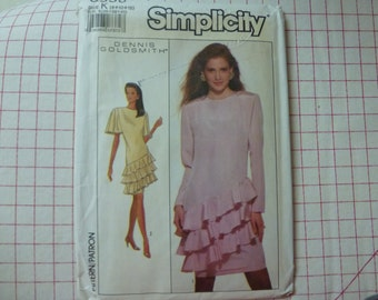 Vintage Simplicity Pattern 8858 for Misses' Dress with Triple Flounce by Designer Dennis Goldsmith   Sizes 8, 10, 12
