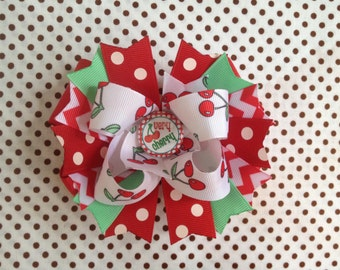 SALE! Ready To Ship Hairbow! Very Cherry Hairbow, Cherries Hairbow, Polka Dot Boutique Hairbow, Girls Hairbow