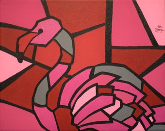 """Pink Flamingo Print, 8x10 Inch Cubism Art Lustre Print, """"Picasso Pets"""" Series, Animal Cubism, Wall Decor, Gift Idea, Pink and Red Art Print"""