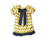 Infant Girl Dress - Baby Girl Frock - Baby Dress - Toddler Dress - Girls Yellow Dress - Girls Chevron Dress - Girl Peasant Dress