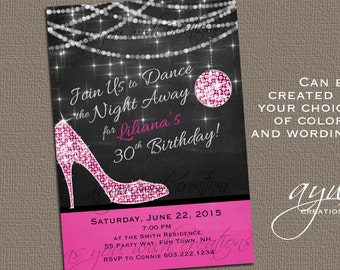High Heels Dance Party Invitation Printable Invitation Elegant 30th Birthday 40th Birthday 50th Birthday Party Invitation Bokeh Woman Heels