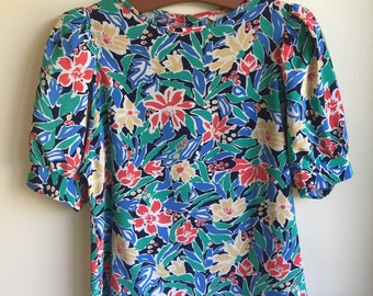 SALE! Vintage Blue and Green Floral Blouse