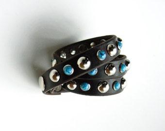 Turquoise Triple Wrap Leather Bracelet | Biker Band | Motorcycle Cuff | Silver Rivets Stud Wrist Wrap | Gypsy Hippie Boho Leather Jewelry