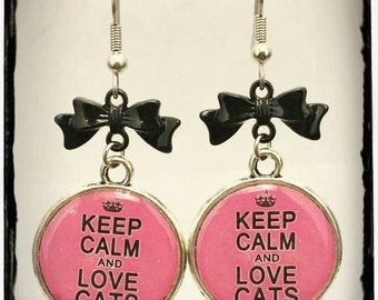 Pink Keep Calm and Love Cats  Earrings