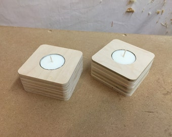 Rounded square candles made from reclaimed wood!
