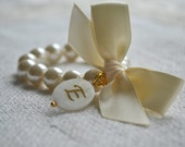 Ella - with Mother of Pearl Initial charm - Ivory Pearl Bracelet, Ivory Ribbon Bow, Gold
