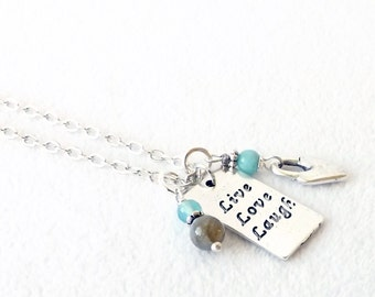 Silver Necklace, Live Love Laugh Necklace, Sundance Style, Karen Hill Tribe, Charm Necklace, Layering, Inspiration Message Jewelry, Gift