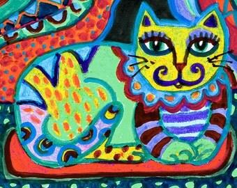 Folk Art Cat, Whimsical Cat Print, Cat Art, Yellow And Green, Girls Room Decor, Cat Decor, Mexican Folk Cat, El Gato by Paula DiLeo_71615