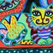 Folk Art Cat, Whimsical Cat Print, Cat Art, Yellow And Green, Girls Room Decor, Cat Decor, Mexican Folk Cat, El Gato by Paula DiLeo_71615
