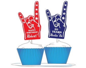 "Custom Rock-n-Roll Cupcake Toppers: ""Foam Finger"" Rock On"