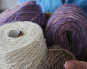 Organic hand-spun 100% cotton yarn: Cotton White color ( 2 rolls / ~3oz per roll)