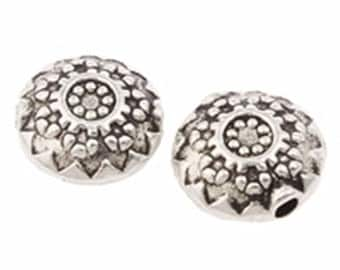 10pc 10mm flat round antique silver  metal beads-7204F