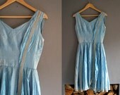 1950s Baby Blue Silk Prom Dress XS