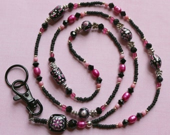 Freshwater Pearl & Glass Beaded Lanyard I D Badge Holder - BLACK ROSE - W118