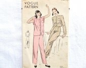 Vintage Vogue 5933 Pyjamas Pattern Size 16 Pajamas