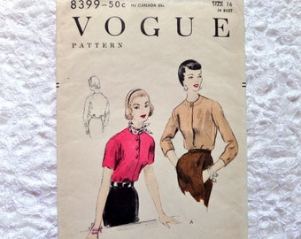 Vintage Vogue Blouse Pattern 8399 Size 16 1954