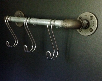 Small Industrial-Inspired Pipe Rod Towel Bar with 3 S-Hooks