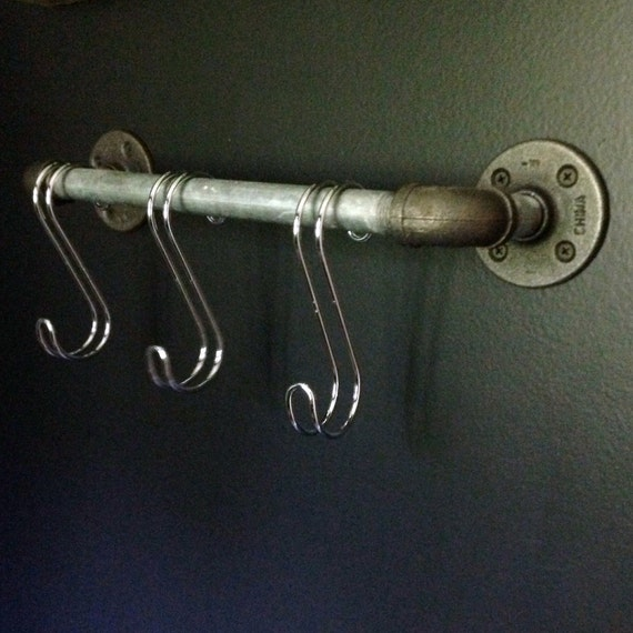 Small industrial inspired pipe rod towel bar with s hooks