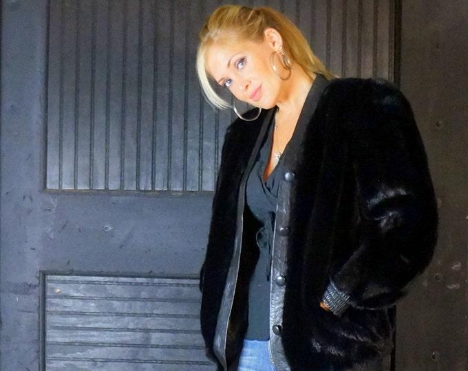 Vintage Black Faux Mink Fur & Leather Jacket Womens MEDIUM 1970s Designer Lilli Ann Sporty Baseball / Bomber Stroller Black Leather Trim
