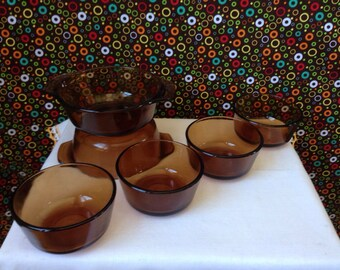 Anchor Hocking - Fire King - Amber - Individual Casseroles - Custard Cups - Set of Six
