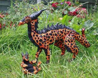 Pair of poseable art doll, volcanic dragons, textile sculpture, fantasy creature, fire, lava, volcano, orange, red, black