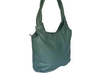 Forest green tote leather purse /  everyday shoulder bag / fashion preppy handbag  with tassel bony2